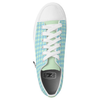 Mint Green and Blue Circle Pattern Sneaker Printed Shoes