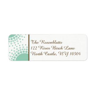 Mint Green and Brown Modern Circles Address Return Address Label