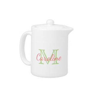 Mint Green and Coral Pink Monogram
