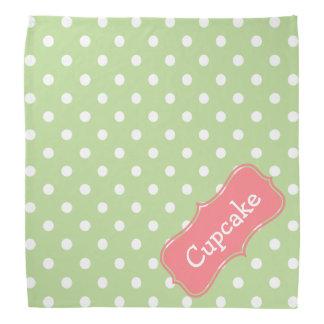 Mint Green and Coral Pink Polka Dot Personalized Bandana