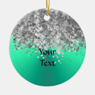 Mint green and faux glitter christmas ornament