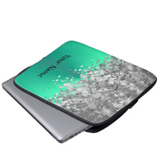 Mint green and faux glitter personalized laptop sleeve