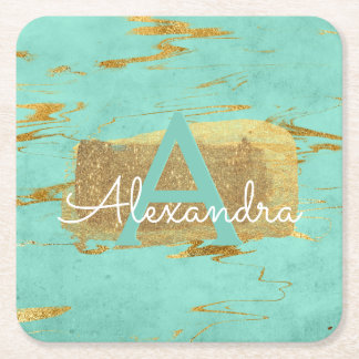 Mint Green and Gold Foil Elegant Marble Birthday Square Paper Coaster