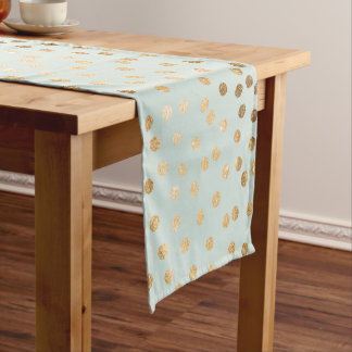 Mint Green and Gold Glitter City Dots Table Runner