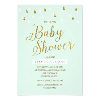 Mint Green and Gold Glitter Raindrops Baby Shower Card
