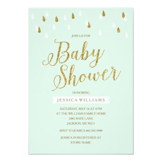 Mint Green and Gold Glitter Raindrops Baby Shower