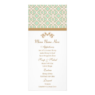 Mint Green and Gold Moroccan Menu Personalized Rack Card