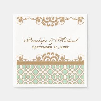 Mint Green and Gold Moroccan Wedding Paper Napkin
