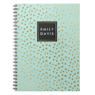 Mint Green and Gold Spots   Notebook