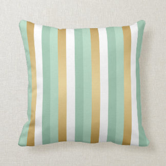 Mint Green and Gold Stripes Cushion