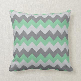 Mint Green and Gray Chevron Zigzag Cushion