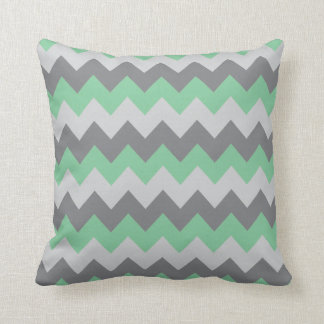 Mint Green and Gray Chevron Zigzag Throw Pillow