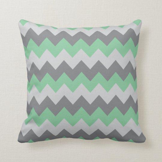 Mint Green and Grey Chevron Zigzag Cushion