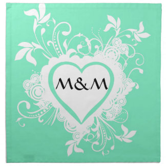 Mint green and heart  monogram napkin