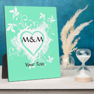 Mint green and heart  monogram plaque