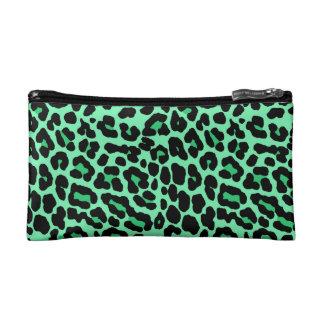 Mint Green and Jade Leopard Print Pattern Makeup Bags