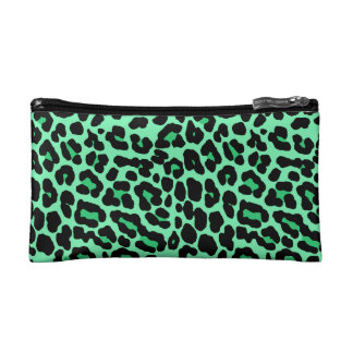 Mint Green and Jade Leopard Print Pattern Makeup Bags