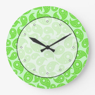 Mint Green and Lime Green Paisley. Large Clock