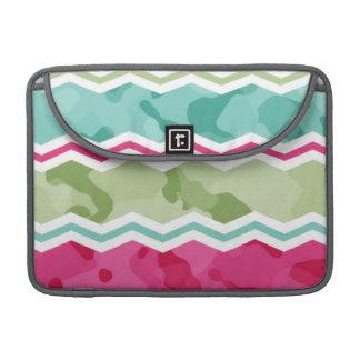 Mint, Green, and Magenta Pink Camo Chevron MacBook Pro Sleeves