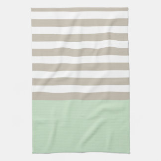 Mint Green and Neutral Gray Striped Pattern Towel