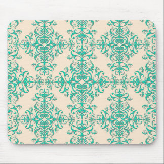 Mint Green and Off White Damask Style Pattern Mouse Pad