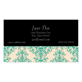 Mint Green and Off White Damask Style Pattern Pack Of Standard Business Cards