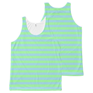 Mint Green and Pastel Blue Stripes All-Over Print Tank Top