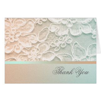 Mint Green and Peach Lace Card