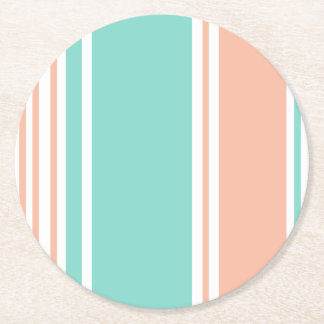 Mint Green and Peach Modern Stripes Round Paper Coaster