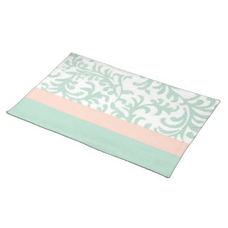 Mint Green and Peach Pink Floral Pattern Placemat