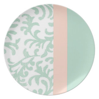 Mint Green and Peach Pink Floral Pattern Plate