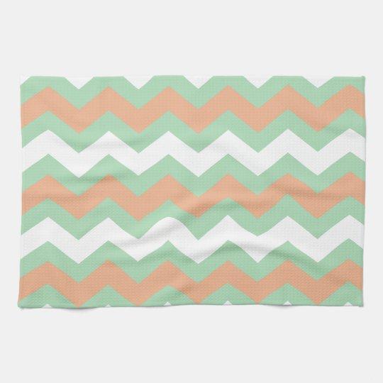 Mint Green and Peach Zigzags Tea Towel