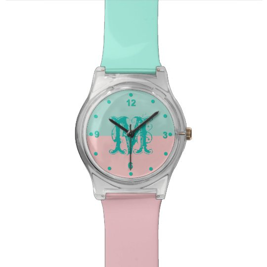 Mint Green and Pink Colour Block Monogram Watch