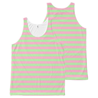 Mint Green and Pink Stripes All-Over Print Tank Top
