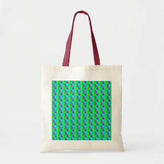 Mint Green And Purple Neon Glow Patterns Budget Tote Bag