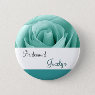 Mint Green and Teal Rose Bridesmaid Button