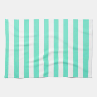 Mint Green And Vertical White Stripes Patterns Tea Towel