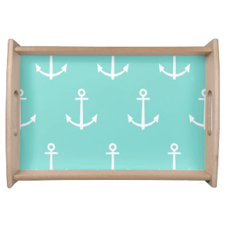 Mint Green and White Anchors Pattern 1 Serving Tray