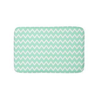 Mint Green and White Chevron Pattern Bath Mat