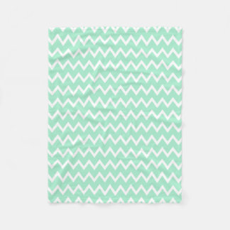 Mint Green and White Chevron Pattern Fleece Blanket