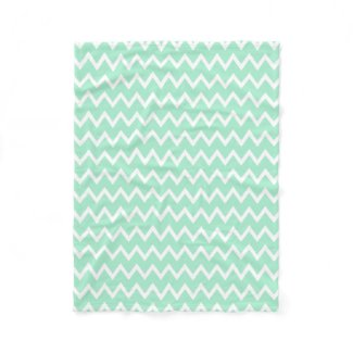 Mint Green and White Chevron Pattern Blanket