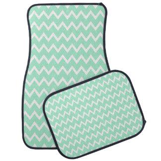 Mint Green and White Chevron Pattern Floor Mat
