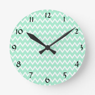 Mint Green and White Chevron Pattern Round Clock