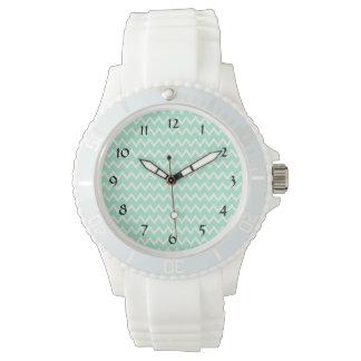 Mint Green and White Chevron Pattern Watch