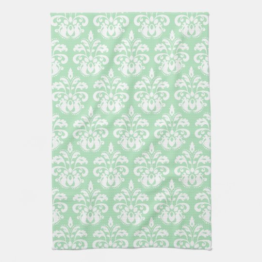 Mint green and white damask kitchen towels