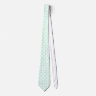 Mint Green and White Damask Pattern Neck Tie