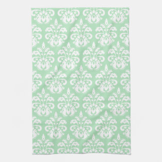 Mint green and white damask tea towel