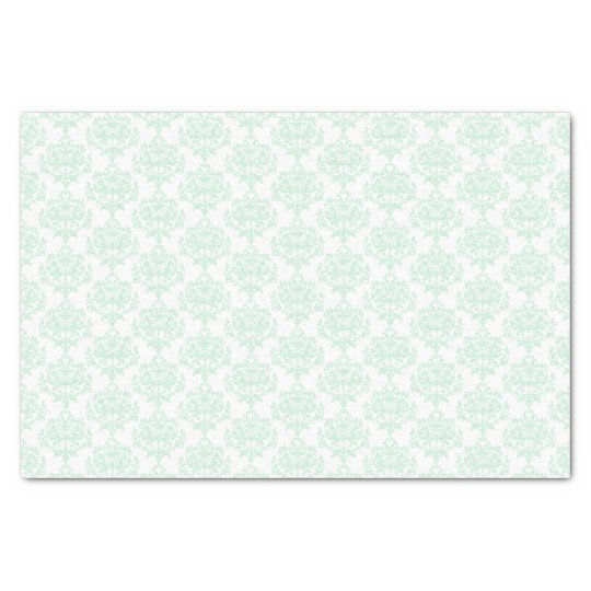 Mint Green and White Damask Tissue Paper