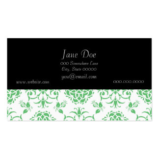 Mint Green and White Floral Damask Style Pattern Business Cards