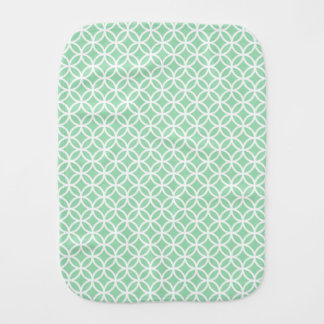 Mint Green and White Geometric Pattern Burp Cloth